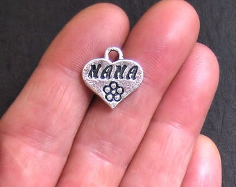6 Nana Charms Antique  Silver Tone 2 Sided - SC607