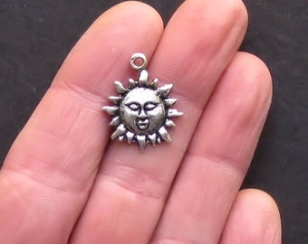 8 Sun Charms Antique Tibetan Silver Tone - SC802