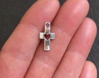 8 Cross Charms Antique  Silver Tone Fabulous Solid Cross with Heart - SC492