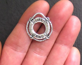 5 Life Preserver Charms Antique  Silver Tone 2 Sided - SC307