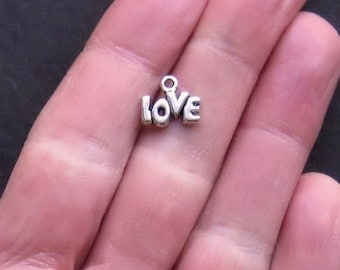 16 Love Charms Antique  Silver Tone - SC291