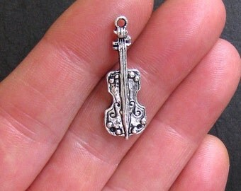 6 Violin Charms Antique  Silver Tone with Lovely Details - SC563