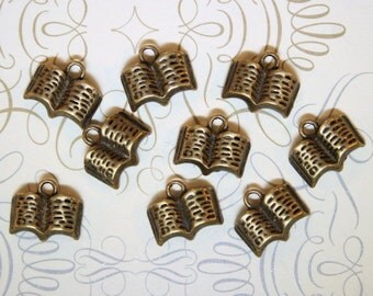 8 Book Charms Antique Bronze Tone Simply Adorable - BC152