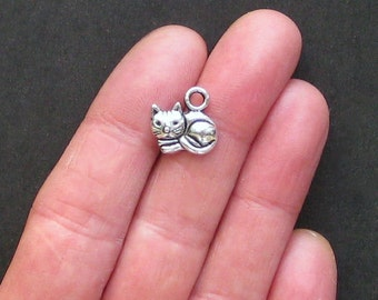 10 Cat Charms Antique  Silver Tone Simply Adorable - SC1066