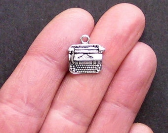 5 Typewriter Charms Antique  Silver Tone Simply Adorable - SC1202