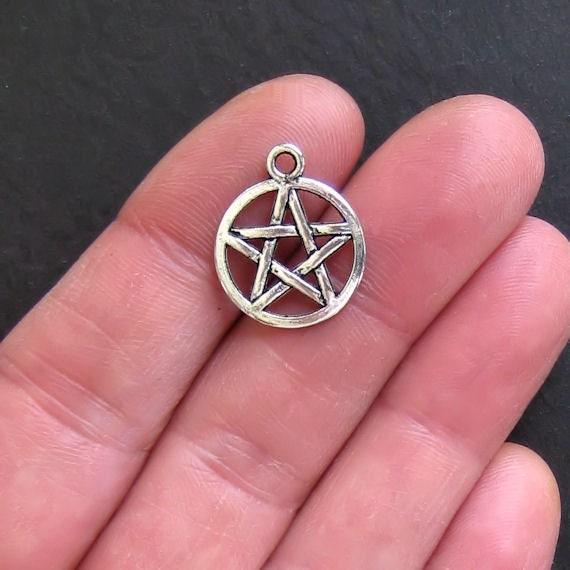 8 Pentagram Charms Antique  Silver Tone - SC494