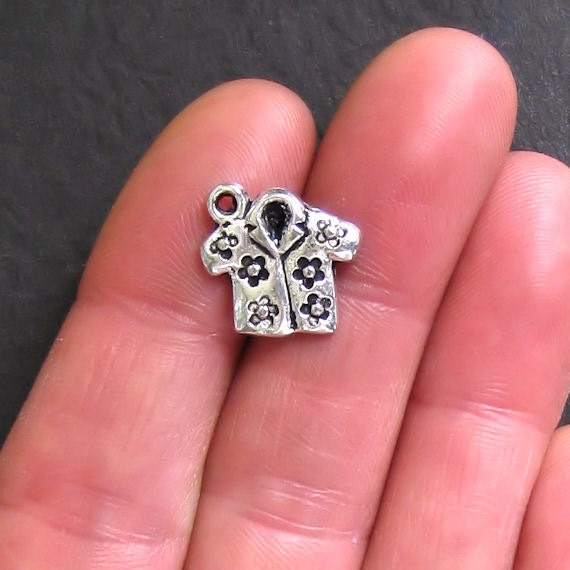 5 Shirt Charms Antique Silver Tone Hawaiian Print Tropical Design - SC254