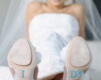 Wedding I Do shoe stickers in Blue with Diamond Wedding Ring for your Bridal Shoes