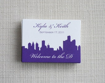 Custom Wedding Stickers Labels -- Set of 50 Wedding Stickers with City Skyline
