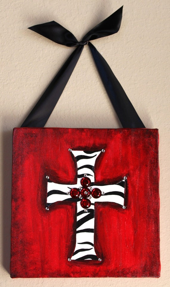Items similar to zebra and red cross painting on canvas on for Cross paintings on canvas