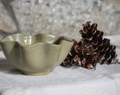 SALE Vintage Green Ruffled Wavy Edge Bowl, Potpourri Dish, Retro Home Decor, Scalloped Edge Painted Terra Cotta Rustic Cottage Chic Planter