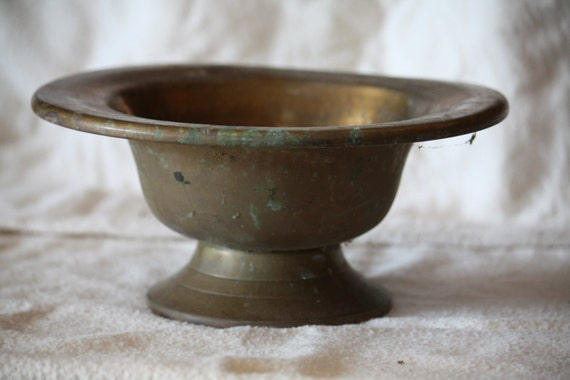 SALE Vintage Solid Brass Pedestal Bowl, Hammered Planter, Potpourri Candy Dish, Rustic Shabby Chic Home Decor