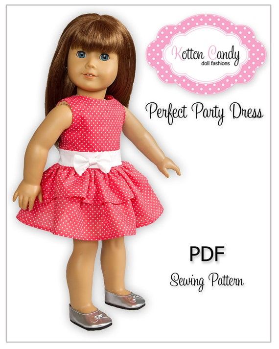 "PDF Sewing Pattern for 18"" American Girl Doll Clothes - Perfect Party Dress ePattern"