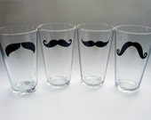 Moustache Pint Glasses - Variety of Colors and Styles (set of 4)