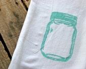 Mason Jar Tea Towel. Unique one of a kind design. TEAL. Beautiful.