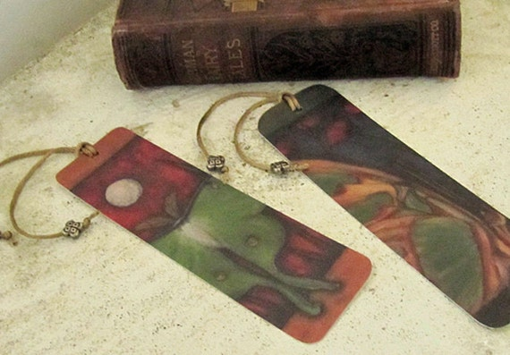 Bookmark Art Set of 2 Handmade Luna Moth and Butterfly Recycled Painting Quality Gifts Nature