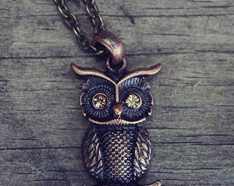 CYBER MONDAY SALE Copper Owl Necklace