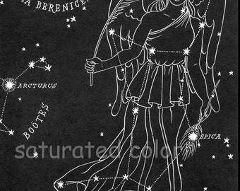 Virgo Night Sky Star Chart Map - Zodiac Constellation Stars  from 1948 Astronomy Textbook