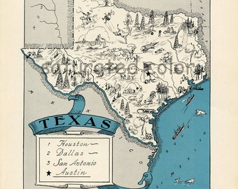Texas Vintage Map - High Res DIGITAL IMAGE 1930s Vintage Picture Map - Turquoise Aqua - Charming & Fun - Weddings Map