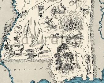 Mississippi Map 1931 ORIGINAL Vintage Picture Map - Antique Charming Teal Aqua - Jackson Meridian Vicksburg Laurel Biloxi RARE USA Map