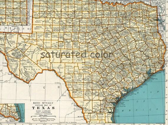 Items Similar To Texas Map Vintage 1942 Original Vintage