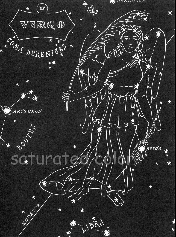 Virgo Night Sky Star Chart Map Zodiac by SaturatedColor on Etsy