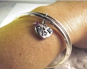 Pure Silver Heart Charm Personalized accented with ruby gemstone bead