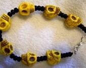 Skull Bracelet, skull jewellery,howlite bracelet, Skull bracelet, made to order, Customized bracelet,skull jewellery,