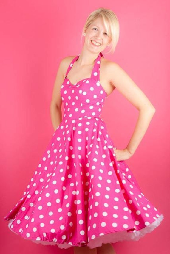 Pink Cerise and white polka dot 1950's style dress