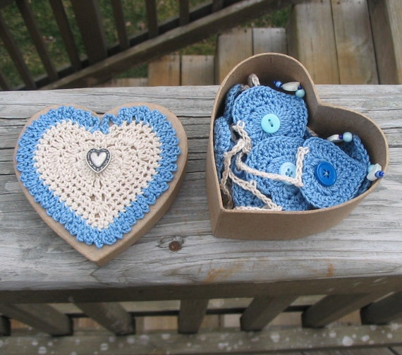 Garland - Bunting - Blue - Crochet - Home Decor - Nursery Accent - Party Decor - Baby Shower - valentines day