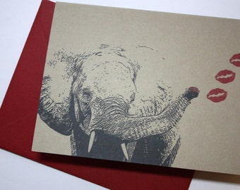 Elephant Kiss note card