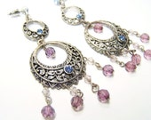 SALE - ANTIQUE Filigree Blue and Purple Gemstone Beaded Chandelier Earrings 1930s 40s