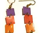 Color Block earrings in Lilac, Salmon and Tangerine