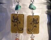 Khaki Floral Turquoise Beaded earrings