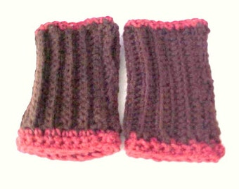 Brown Cranberry fingerless gloves Rustic crochet ribbed handwarmers texting gloves hand mitts woman's fingerless gloves by PeaceStitchStudio