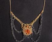 rare vanadinite goldfilled & silver egyptian beatle crochet necklace