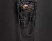 herkimer quartz diamond crochet necklace - PetiteMortShop