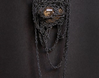 herkimer quartz diamond crochet necklace