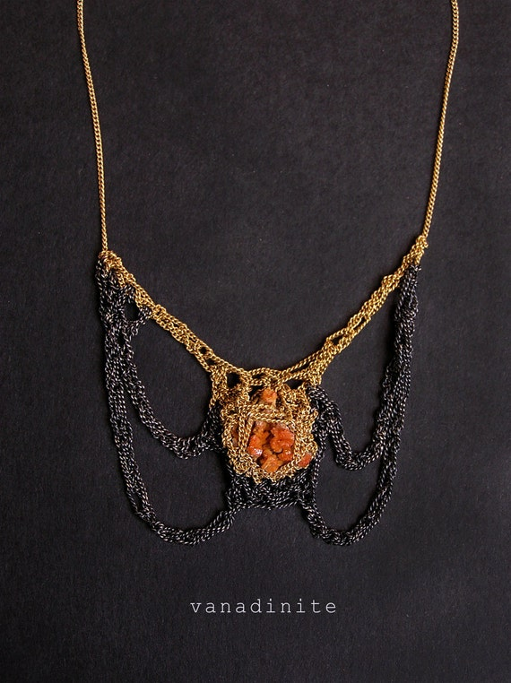 rare vanadinite goldfilled & silver egyptian beatle crochet necklace
