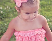 lace romper- petti romper- baby ruffle romper- with flower headband in coral