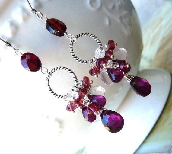 Raspberry Garnet, Rhodolite Garnet and Pink Quartz Cluster Earrings. January Birthstone Earrings. Dangling Hoop Earrings. Red Drop Earrings.