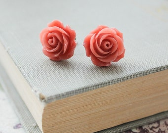 Coral Rose Earrings Salmon Pink Rose Stud Earrings Flower Post Earrings Sugical Steel Summer Jewelry Nature Inspired Romantic Floral Garden