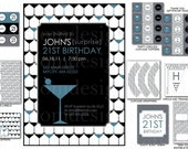 DIY -  Printable: Customized Martini Party - Set of 11 Items