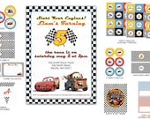 DIY -  Printable: Customized Original Cars Movie Party Set -  13 items (invitation, party circles, water bottle labels, banner and more)