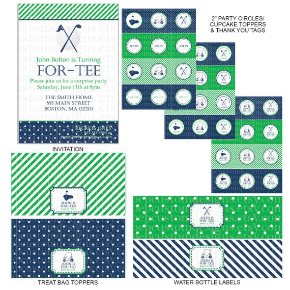 "DIY -  Printable: Golf ""For-Tee-eth"" Birthday Party Pack -  11 items (invitation, party circles, water bottle labels, banner and more)"
