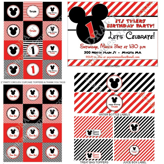 DIY-Printable: Personalized Mickey Mouse Stripe Party Set - 13 items (invitation, party circles, water bottle labels, banner & more)