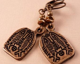 Brass Earrings Fish Earrings Brass Jewelry Fish Jewelry