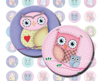 Cute Owls 1  inch bottle caps circles papercraft images and 1.313 inch Printable download digital collage sheet for cupcake toppers, buttons
