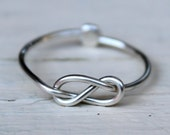 Knuckle Ring : Tiny Delicate Silver Plated Wire Infinity Knot Ring, First Knuckle Ring, Hand Bent, Friendship, Promise, Wish, Reminder