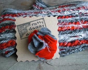 Ohio State Buckeyes inspired Scrappy Felt and Yarn Flower Pin Brooch - Scarlet & Gray - Handmade